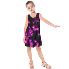 Abstract Background Purple Bright Kids  Sleeveless Dress by Celenk
