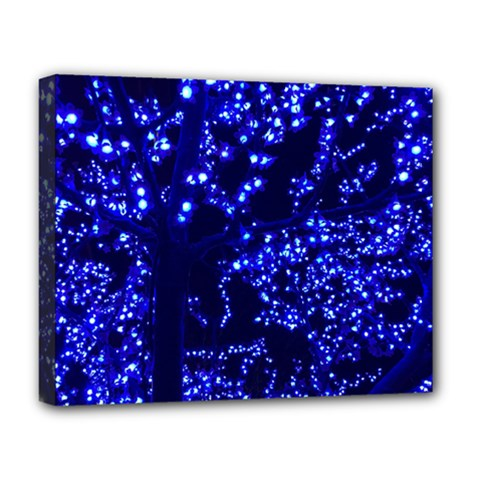 Lights Blue Tree Night Glow Deluxe Canvas 20  X 16   by Celenk