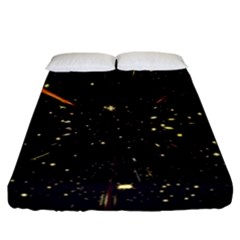 Star Sky Graphic Night Background Fitted Sheet (california King Size)