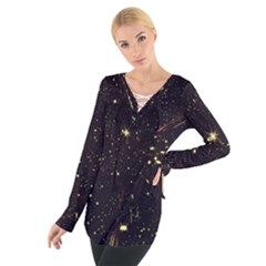 Star Sky Graphic Night Background Tie Up Tee by Celenk