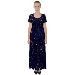 Star Sky Graphic Night Background High Waist Short Sleeve Maxi Dress