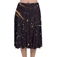 Star Sky Graphic Night Background Velvet Flared Midi Skirt