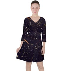 Star Sky Graphic Night Background Ruffle Dress by Celenk