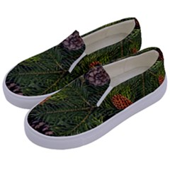 Branch Christmas Cone Evergreen Kids  Canvas Slip Ons by Celenk