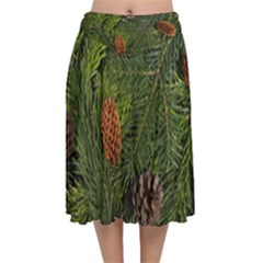 Branch Christmas Cone Evergreen Velvet Flared Midi Skirt by Celenk