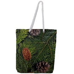 Branch Christmas Cone Evergreen Full Print Rope Handle Tote (large) by Celenk