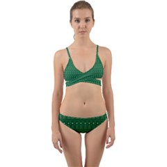 Christmas Tree Pattern Design Wrap Around Bikini Set