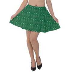Christmas Tree Pattern Design Velvet Skater Skirt
