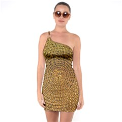 Background Gold Pattern Structure One Soulder Bodycon Dress