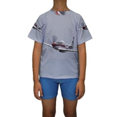 P-51 Mustang Flying Kids  Short Sleeve Swimwear by Ucco