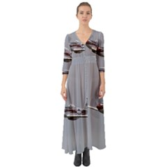 P 51 Mustang Flying Button Up Boho Maxi Dress by Ucco