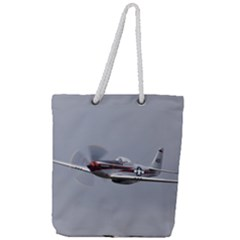 P 51 Mustang Flying Full Print Rope Handle Tote (large) by Ucco
