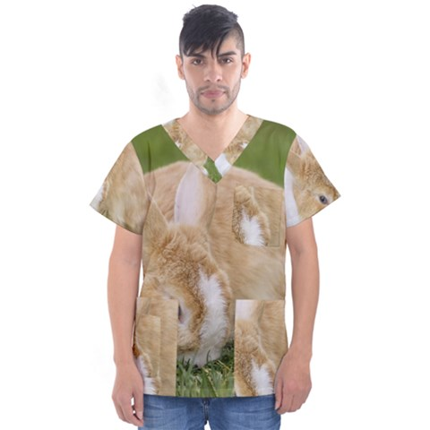 Beautiful Blue Eyed Bunny On Green Grass Men s V-neck Scrub Top by Ucco