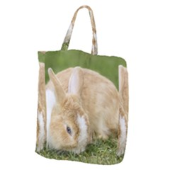 Beautiful Blue Eyed Bunny On Green Grass Giant Grocery Zipper Tote by Ucco