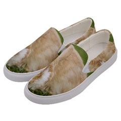Beautiful Blue Eyed Bunny On Green Grass Men s Canvas Slip Ons by Ucco