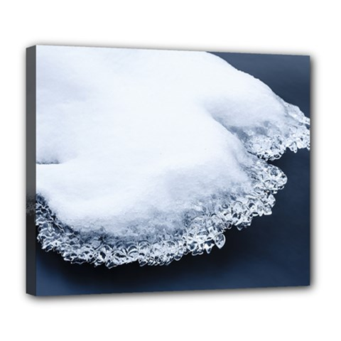 Ice, Snow And Moving Water Deluxe Canvas 24  X 20   by Ucco