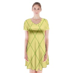 Cross Lines (green And Yellow) Short Sleeve V Neck Flare Dress