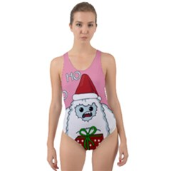 Yeti Xmas Cut Out Back One Piece Swimsuit by Valentinaart