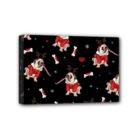Pug Xmas Pattern Mini Canvas 6  X 4  by Valentinaart