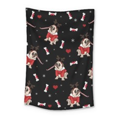 Pug Xmas Pattern Small Tapestry by Valentinaart
