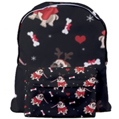 Pug Xmas Pattern Giant Full Print Backpack by Valentinaart