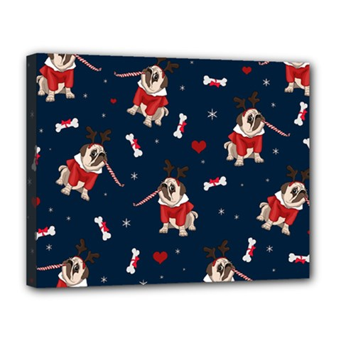 Pug Xmas Pattern Canvas 14  X 11  by Valentinaart