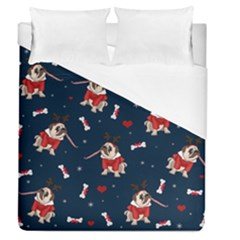 Pug Xmas Pattern Duvet Cover (queen Size)