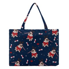 Pug Xmas Pattern Medium Tote Bag by Valentinaart