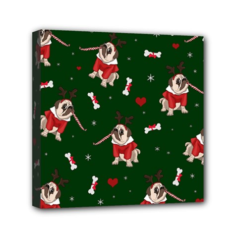 Pug Xmas Pattern Mini Canvas 6  X 6  by Valentinaart