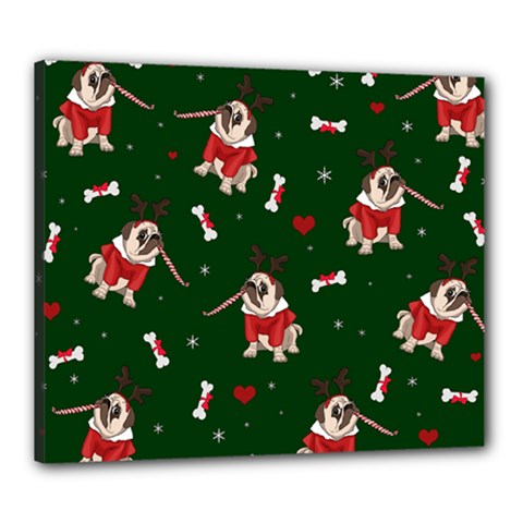 Pug Xmas Pattern Canvas 24  X 20  by Valentinaart