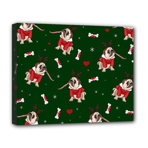 Pug Xmas Pattern Deluxe Canvas 20  X 16