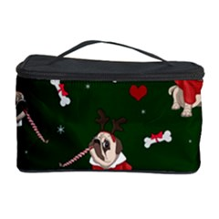 Pug Xmas Pattern Cosmetic Storage Case by Valentinaart