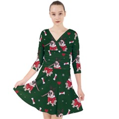 Pug Xmas Pattern Quarter Sleeve Front Wrap Dress