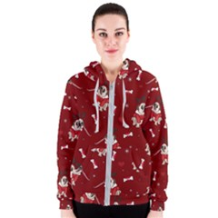 Pug Xmas Pattern Women s Zipper Hoodie by Valentinaart