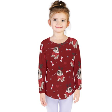 Pug Xmas Pattern Kids  Long Sleeve Tee by Valentinaart