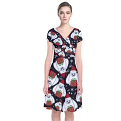 Yeti Xmas Pattern Short Sleeve Front Wrap Dress