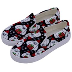 Yeti Xmas Pattern Kids  Canvas Slip Ons by Valentinaart