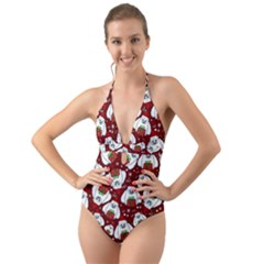 Yeti Xmas Pattern Halter Cut Out One Piece Swimsuit by Valentinaart