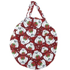 Yeti Xmas Pattern Giant Round Zipper Tote by Valentinaart