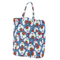 Yeti Xmas Pattern Giant Grocery Zipper Tote by Valentinaart