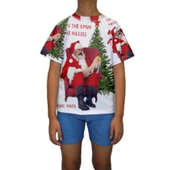 Karl Marx Santa  Kids  Short Sleeve Swimwear