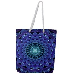 Accordant Electric Blue Fractal Flower Mandala Full Print Rope Handle Tote (large) by jayaprime