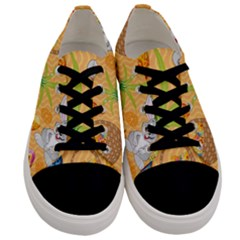Easter Bunny And Egg Basket Men s Low Top Canvas Sneakers
