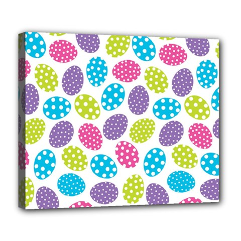 Polka Dot Easter Eggs Deluxe Canvas 24  X 20   by allthingseveryone