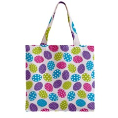 Polka Dot Easter Eggs Zipper Grocery Tote Bag by allthingseveryone