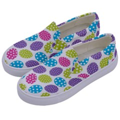 Polka Dot Easter Eggs Kids  Canvas Slip Ons by allthingseveryone