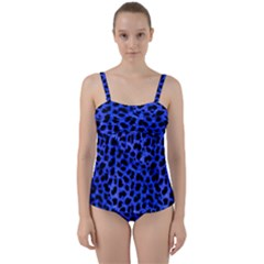 Blue Cheetah Print  Twist Front Tankini Set by allthingseveryone