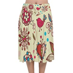 Spring Time Fun Velvet Flared Midi Skirt by allthingseveryone
