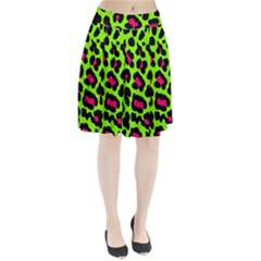 Neon Green Leopard Print Pleated Skirt by allthingseveryone