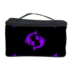 Purple Pisces On Black Background Cosmetic Storage Case by allthingseveryone